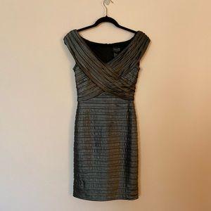 Xscape Bandage Dress metallic gray v-neck Size 4